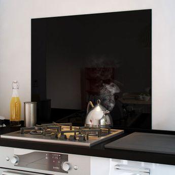 Crédence cuisine fond de hotte verre brillant - Noir
