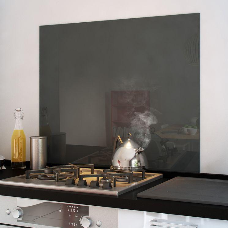 Crédence fond de hotte verre brillant - Basalt - Hauteur 75cm