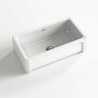 Évier céramique à poser KATE 1 bac blanc 79x47 cm