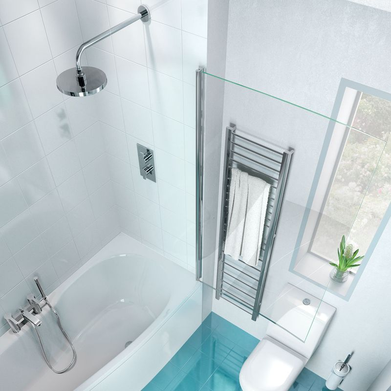 Pare pare baignoire alisme pour la salle de bains verre 6 mm et 1 volet - Pare baignoire miroir ...