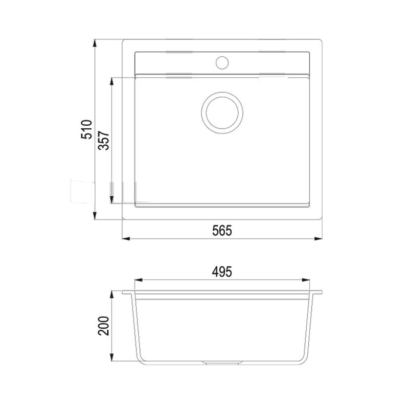 Evier granit blanc 1 bac sans gouttoir 565x500 for Evier 1 bac grande taille