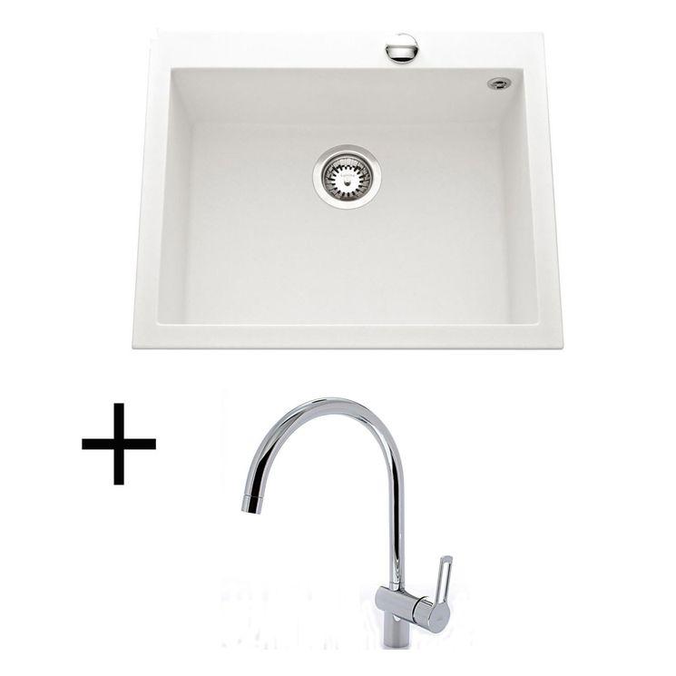Lot Evier granit blanc 610x500 URBIA + Mitigeur CRBMI071