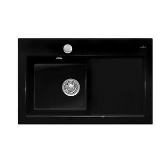Evier céramique noir brillant Villeroy & Boch SUBWAY PURE 1 bac - égouttoir droite