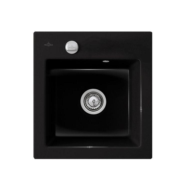 Evier céramique noir brillant Villeroy & Boch SUBWAY PURE 1 bac 475x510