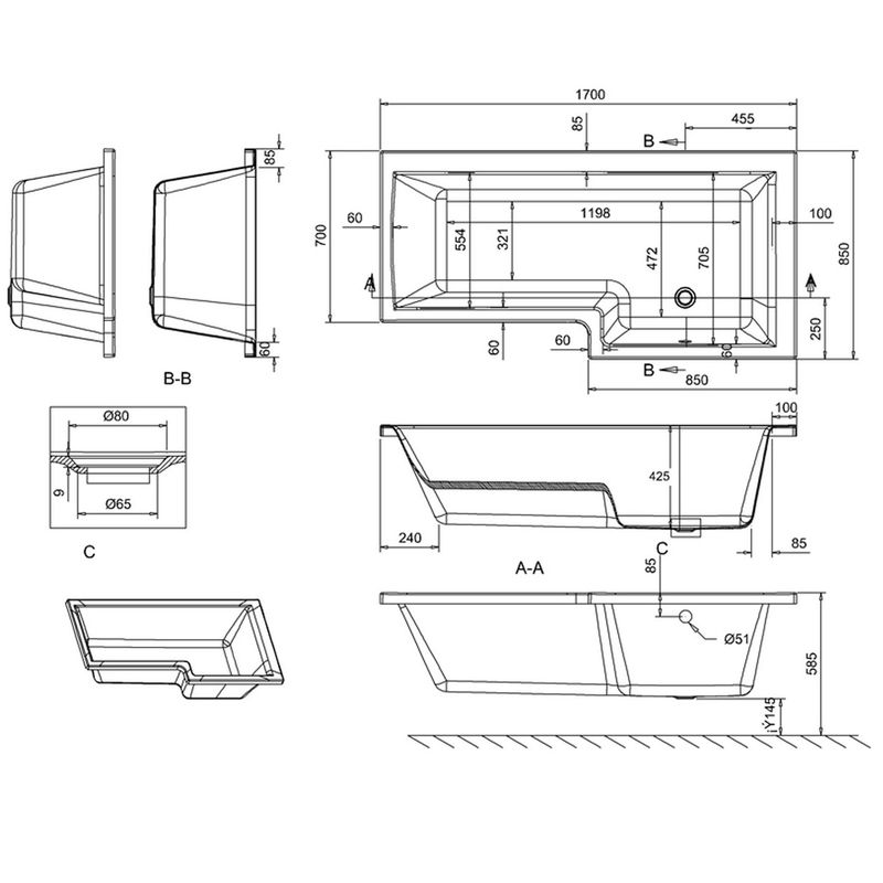 Baignoire d angle droit en acrylique renforc abaldelia for Dimension baignoire droite