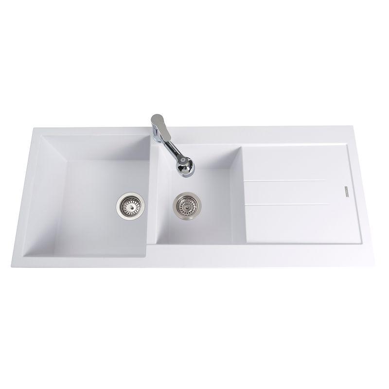 Évier plados de la gamme ÉlÉgance 2 bacs avec égouttoir - coloris blanc