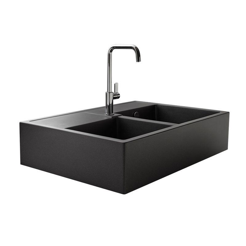 vier timbre d office 2 bacs poser k mbad kiwi en granit noir pour la cuisine. Black Bedroom Furniture Sets. Home Design Ideas