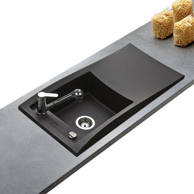 Evier Design noir FEIJOA de la marque Kümbad en 1 bac 1 égouttoir ...