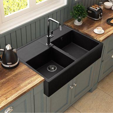 Evier Timbre D Office 2 Bacs A Poser Kumbad Kiwi En Granit Noir