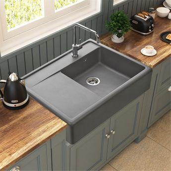 Évier à poser granit gris Kümbad KIWI 1 grand bac 1 égouttoir