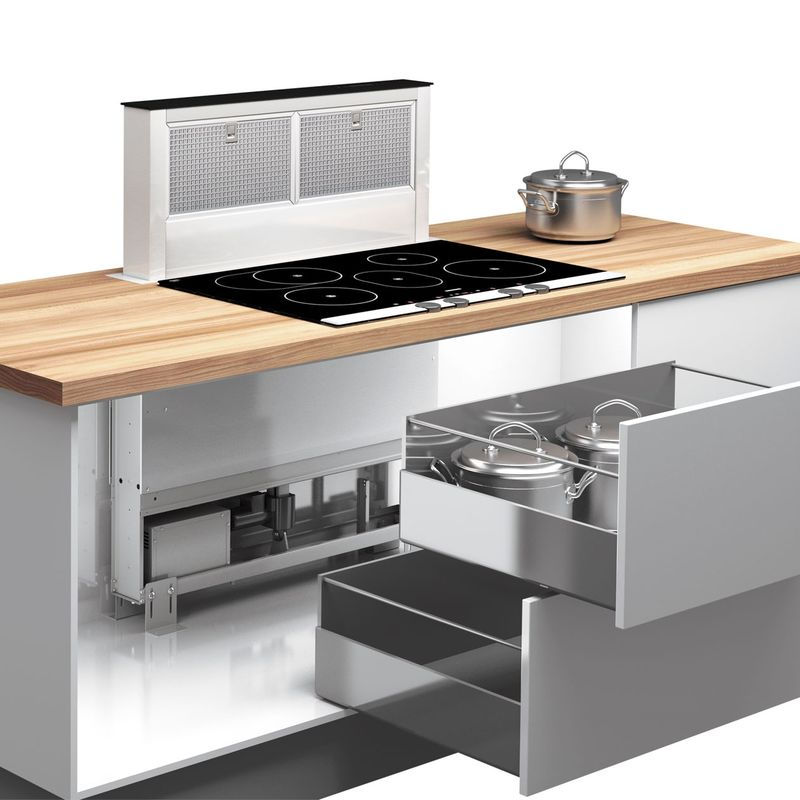 Airforce downdraft inox et verre hotte plan de travail for Table encastrable cuisine