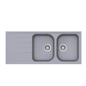 Évier granit gris Schock VIOLA 2 bacs 1 égouttoir