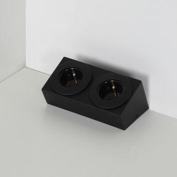 Prise de cuisine - Bloc de 2 prises BARRY soft touch noir