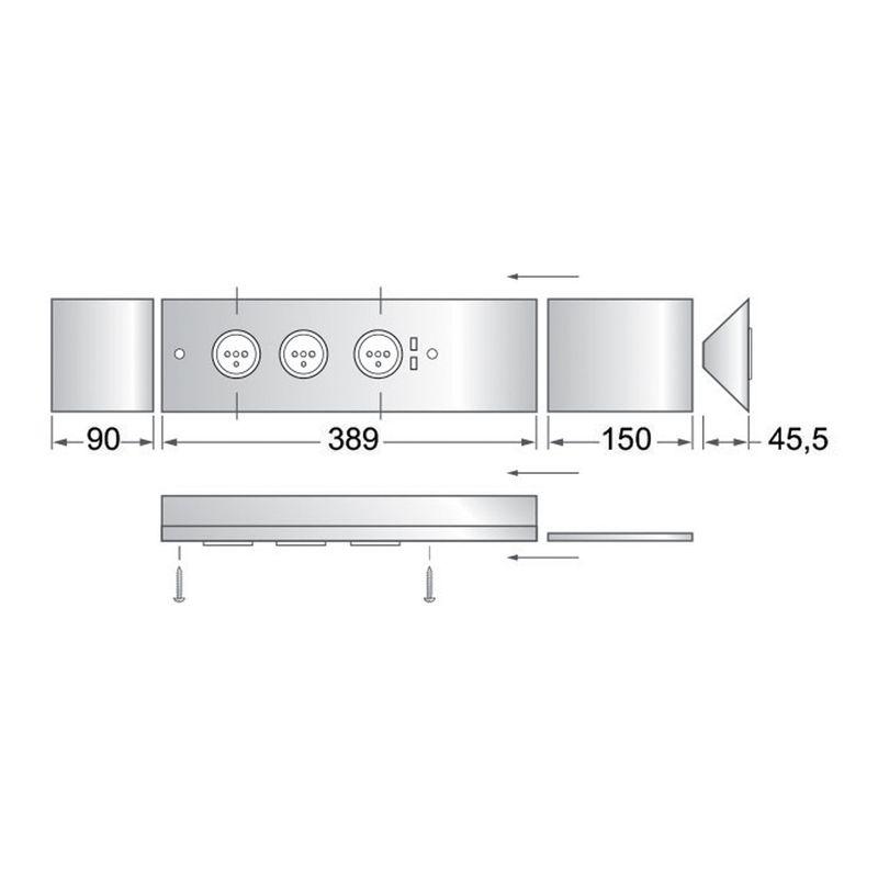 Bloc de 3 prises 2 ports usb en inox bross pour la cuisine for Cuisine inox brosse