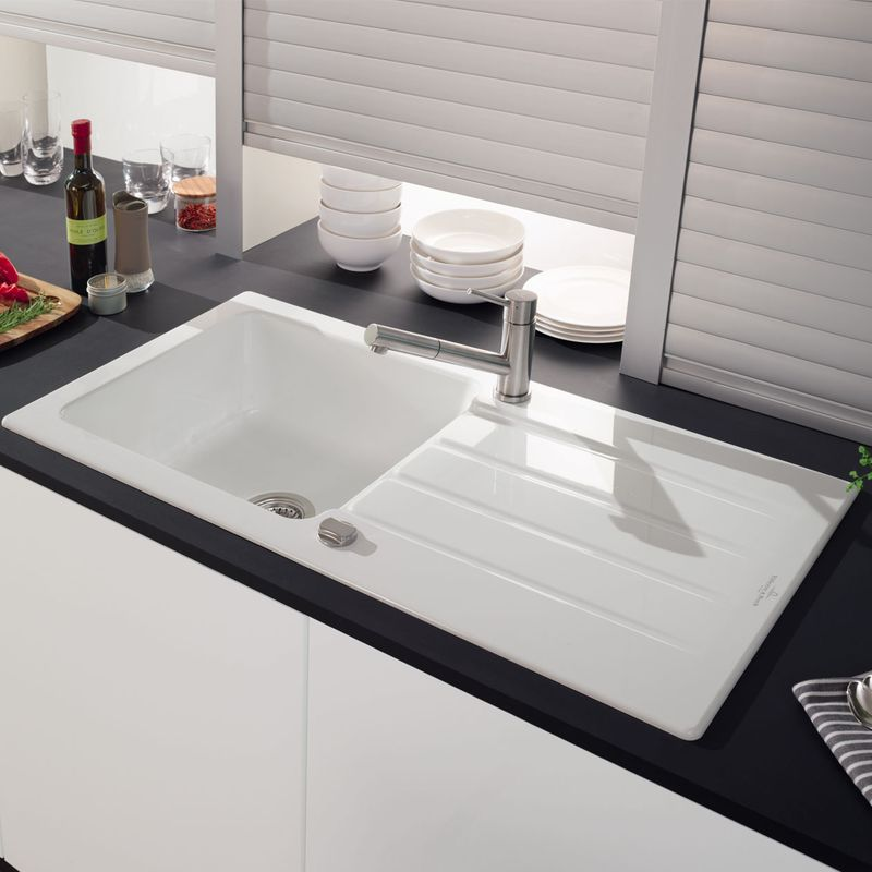 Evier villeroy boch en c ramique architectura 1 grand for Cuisine evier