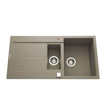 Évier granit gris béton Luisina TAM TAM 1 bac 1/2 - 1 égouttoir