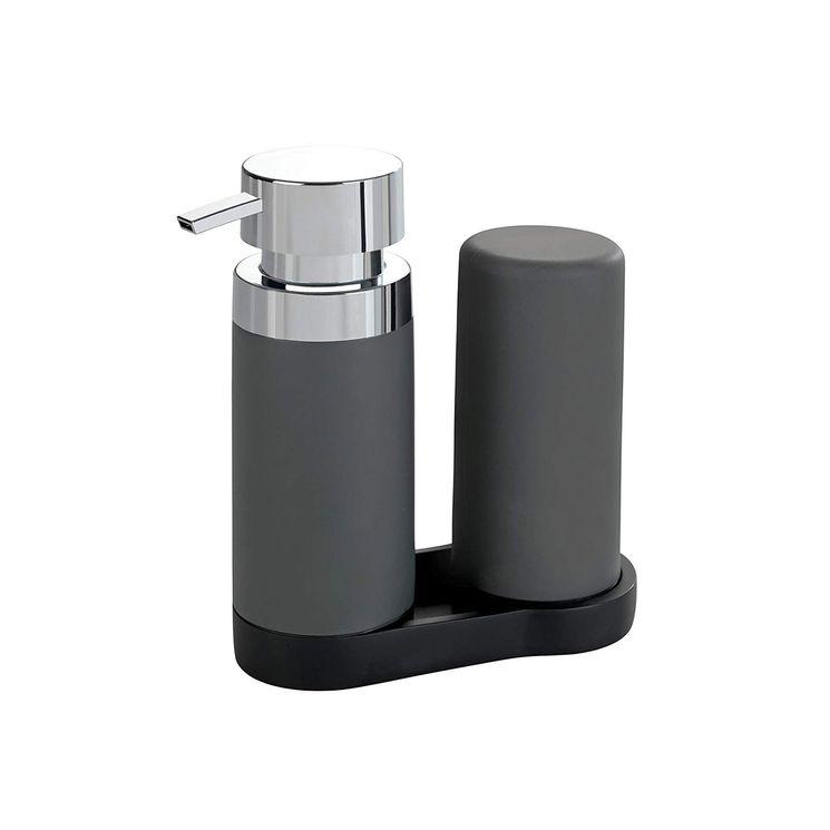 Distributeur de savon et liquide vaisselle WENKO EASY-SQUEEZ-E gris