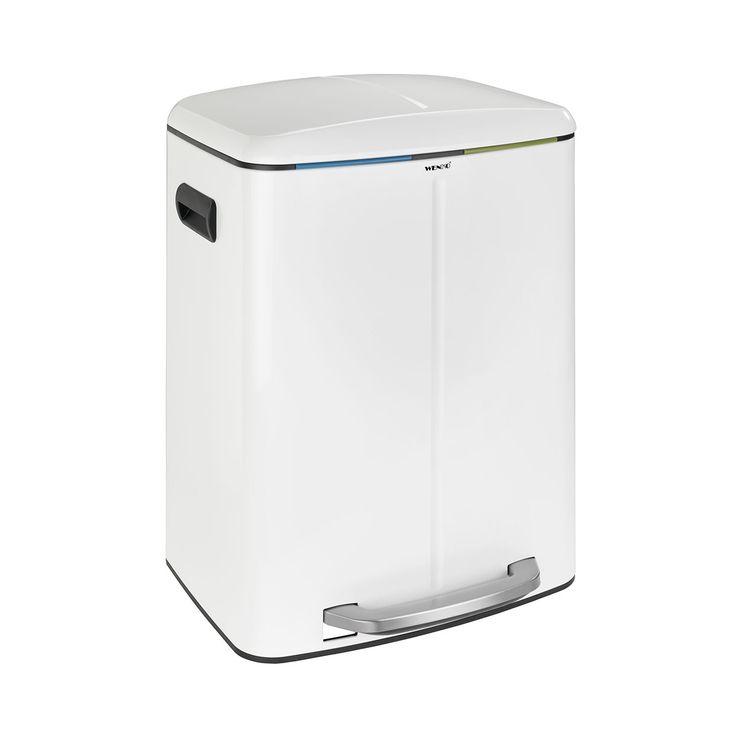 Poubelle de cuisine à pédale WENKO PRIMO blanc - 2x20 litres