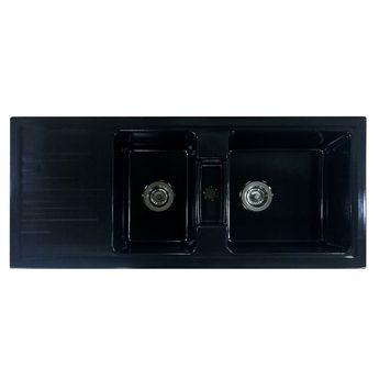 Evier céramique noir mat  EWI AGLAE 2 bacs 1 égouttoir