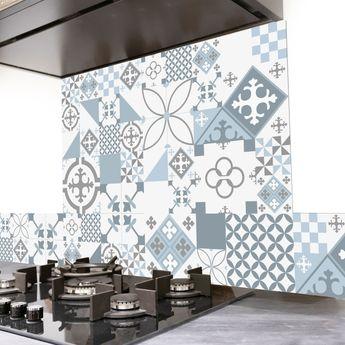 Crédence cuisine aluminium 99 Déco - Carreaux de Ciment PATTY Gris Bleu