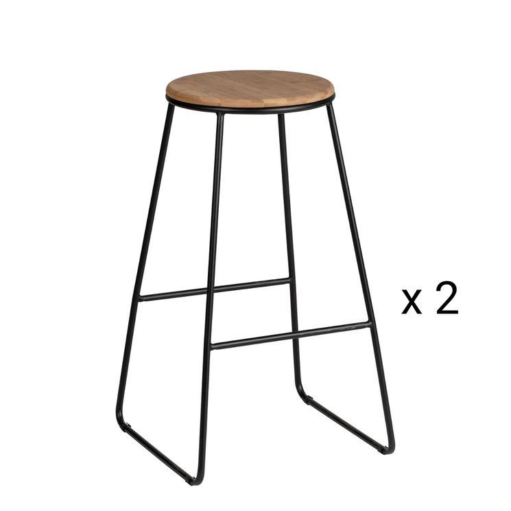 Lot de 2 Tabourets chaises de bar industriel Wenko LOFT