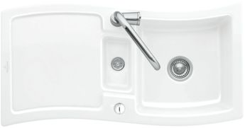 Evier céramique blanc Villeroy & Boch NEW WAVE 1 bac 1/2 - 1 égouttoir