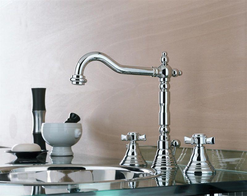 Vasque Rétro à 3 Trous : Vente mélangeur lavabo vasque trous chromé