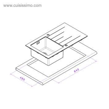 vier inox lisse et verre noir apell isis 1 bac avec gouttoir droite cuisissimo. Black Bedroom Furniture Sets. Home Design Ideas