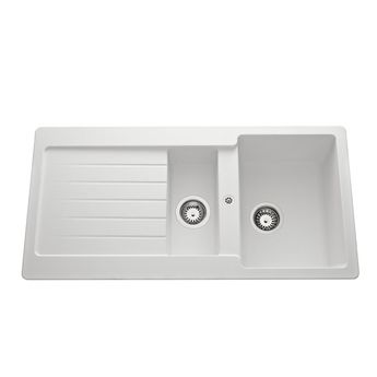 Évier granit blanc Schock LEDIS 1 bac 1/2 - 1 égouttoir